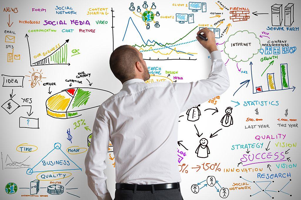 Бизнесмен, който планира маркетингова стратегия
